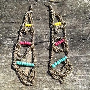 Boho beaded chain earrings